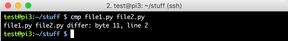 output of cmp file1.py file2.py command