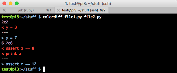 output of colordiff file1.py file2.py command