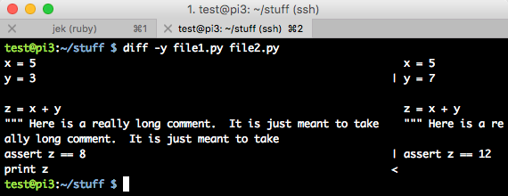 output of diff -y file1.py file2.py command