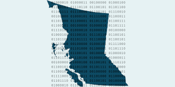 BC Dev Ex Bot written in binary is displayed over an outline of British Columbia.